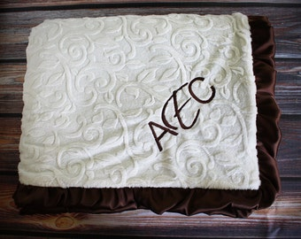 Minky Blanket, embroidered blanket, adult minky blanket, monogrammed blanket, personalized blanket, soft blanket, blanket with name, elegant