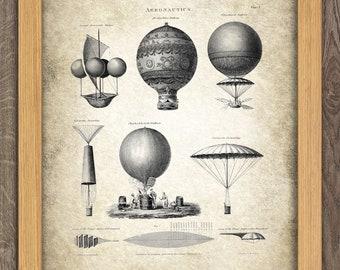 Air Balloon Print - Vintage Aeronautica Illustration - Balloon Art - Digital Art - Printable Art - Digital Print #24 - INSTANT DOWNLOAD