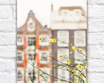 Amsterdam Photo Print, Dreamy Yellow Pastel, Cute Little Houses, Fine Art Photograph, Travel Wall Decor, Large Wall Art