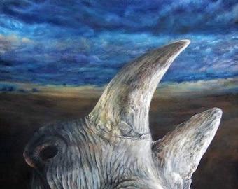 Last Rhino - Original Rhinoceros Painting | Unique Wildlife Art by Roberto Rizzo