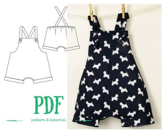 Boys Romper PDF pattern, Baby romper PDF, Boys Jumpsuit PDF, sewing pattern for kids, boys pants pattern