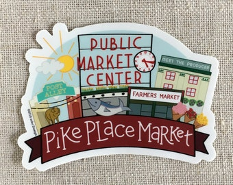Pike Place Market Vinyl Sticker / Seattle Washington Memento / Cool Laptop Sticker / Seattle Travel Sticker / Illustrated Bumper Sticker