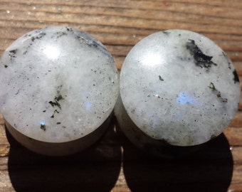 RARE! Pair of Real RAINBOW MOONSTONE Plugs Gauges Body Jewelry Double Flared - Pick Size