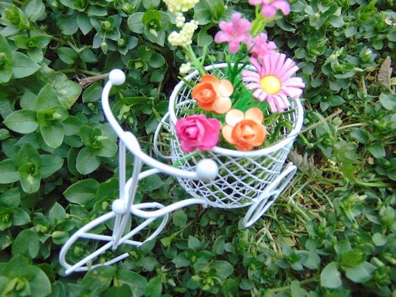 White Tricycle Planter Miniature Fairy Garden Bicycle,Terrarium Decor,metal  Tricycle,white Planter