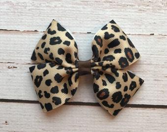 Leopard Hair Bow, Cheetah Print Bow, Toddler Hair Bows, Handmade Hair Bows, Animal Print Hair Bow, Safari Hair Bow