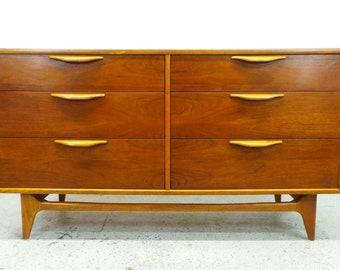 FREE SHIPPING Lane Perception mid century modern walnut low 6 drawer dresser