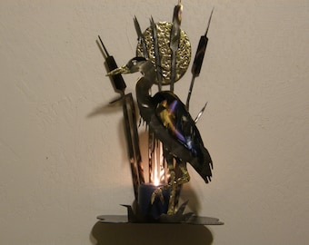 Great Blue Heron and Reeds Metal Sculpture