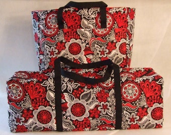 Carrying Case for Cricut Explore Air/Silhouette Cameo 3/Brother ScanNCut/ Cricut Maker /Accessory Bag / Red, Black, Grey, White Floral Print
