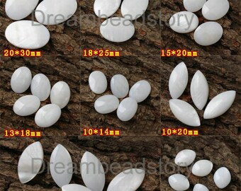 4 Pieces Natural White Shell Oval Cabochon Supplies (HX274)