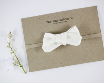 Hand Tied Hair Bow 100% Linen Small Schoolgirl in White // Clip or Band