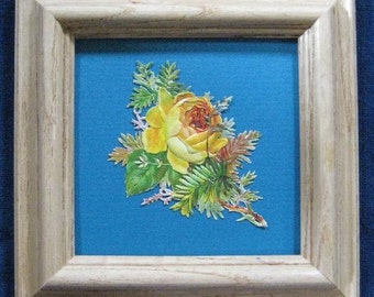 Victorian Roses, Antique Yellow Rose Picture, English Country Style, Cottage Garden Decor, Victorian Die Cut Framed