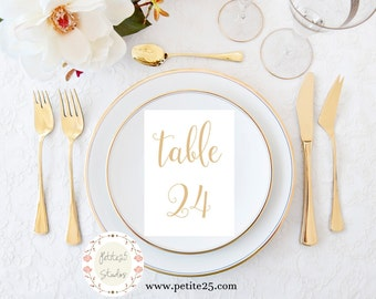 Champagne Gold Table Numbers 1-30, Printable Wedding Table Number, Wedding Table Decor, 5x7 Table Number Card, Instant Download
