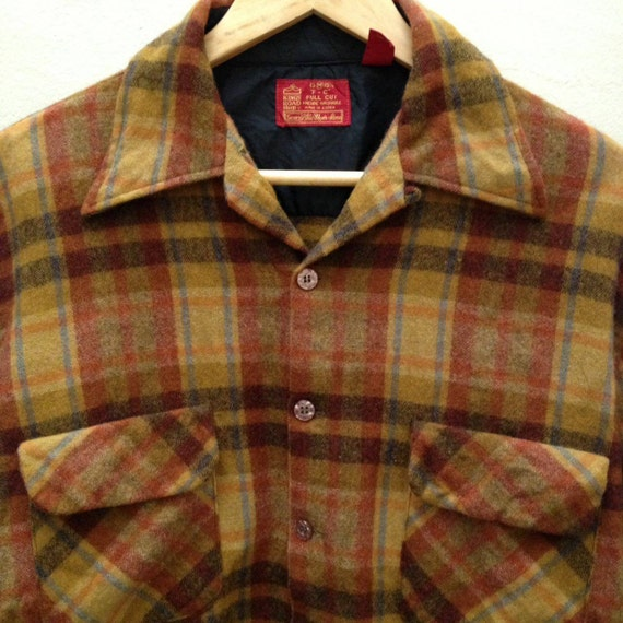 Vintage 60s/70s Buffalo Plaid Flannel Shirt by Kings Road Size Large 2oNBLQipBn