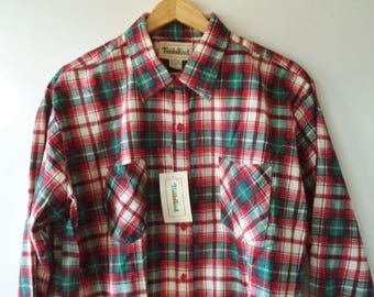 80s NEW dead stock flannel NWT// Grunge holiday Christmas plaid cotton outdoor button down hipster retro shirt// Vintage Trails End// Men XL