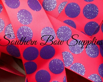 NEW--1.5 inch wide Grosgrain Ribbon--3 Yards----Glitter Silly Dots Shocking Pink with Purple----USA Designer