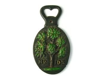 TREE BOTTLE OPENER, Cast Iron, No 105, Black & Green