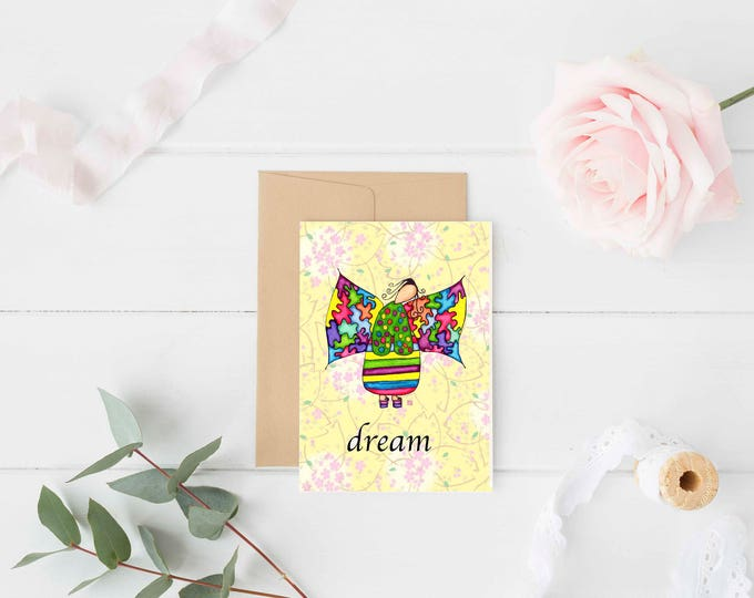 """Greeting Card """"Dream"""" / Graduation New Job Thinking of You / Birthday Baby Shower / Girl Angel Wings Christmas Card / Print at Home Artwork"""