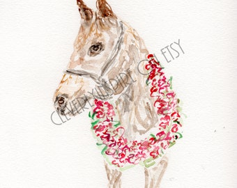 Derby Horse, Kentucky Derby, Watercolor, Churchill Downs, Run for the Roses