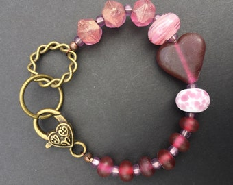Lampwork heart with lampwork and Czech glass beads bracelet