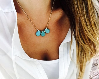 Turquoise Teardrop Charm Necklace
