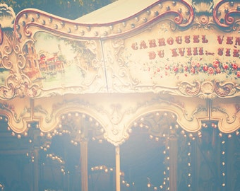 Unique Paris CARROUSEL Photo, Carrousel in PARIS Photo, Parisian Merry Go Round, Vintage Parisian Carrousel Photo, Fairy Lights, Paris Photo