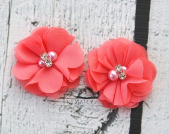 2 Pack Coral Pearl Rhinestone Chiffon Flowers, Fabric Flower, Craft Supplies, DIY Flower, DIY supplies, Embellishment