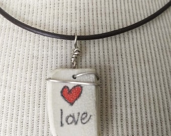 Maine Beach Pottery Shard Necklace/Pendant/Red Heart Love/Mother's Day/Sterling Wire Wrapped Leather/Jewelry/Urban Boho