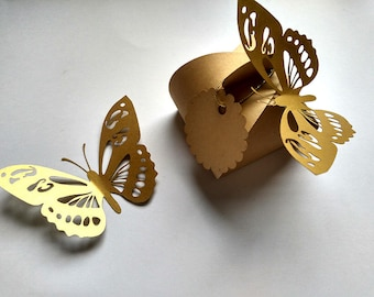 Butterfly Stickers, Gold Butterflies, Butterfly Wall Decals, 3D Paper Butterflies, Gold Butterfly Wall Decals,  Wedding Decoration