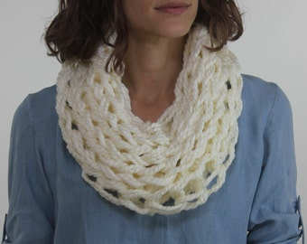 Large Cowl Scarf / Fleece / Arm Knitted