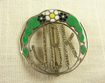 Antique Deco Sterling Enamel and Marcasite Initials Brooch with Trombone Clasp