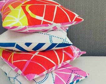 Colourful screenprinted & handmade geometric cushion