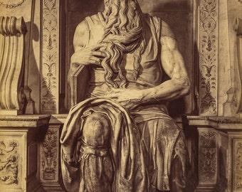 Alinari Photo, Moses, sculpture by Michaelangelo, 1860-70