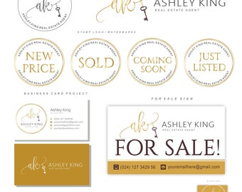 Realtor logo, Key logo, Real Estate logo design, Branding set, Luxe Branding kit, Watermark, Circle Gold logo initials, Business card 92