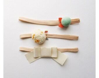 felt flower + pom pom headbands