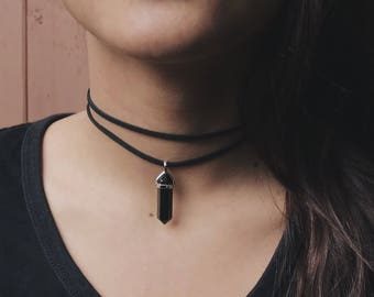 Double Strap Crystal Choker - Black Onyx Crystal - Healing Crystals and Stones - Crystal Necklace - Boho Crystals