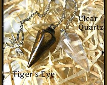 Clear Quarts Pendulum, Tiger's Eye Pendulum, Pendulum, Meditation, Healing crystals, Dowsing, Scrying, Crystals, Dragonfly, Spiritual, zen