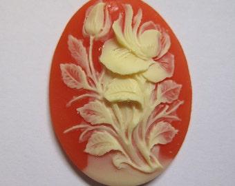 Ivory Hibiscus Flower Acrylic Cornelian Vintage Look Cameo Jewelry Cabochon Pendant 40mm x 30mm