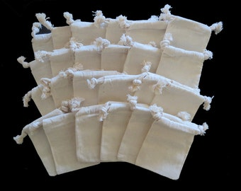 """24 Muslin 3""""x4"""" Pouches 100% Natural Cotton Small Drawstring Bags for Jewelry, Gifts or Party Favors"""