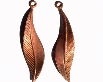 Copper Leaves Blanks Shapes 41mm x 10mm 20g Blanks Fall Greenery Rose Leaf 3D shape - 6 pieces