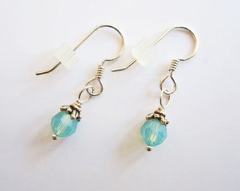Opal Dangle Earrings - Swarovski 6mm Crystal with Sterling Silver Wires