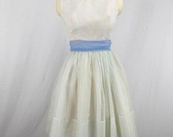 1950's Pale Blue Chiffon Dress Sleeveless XS