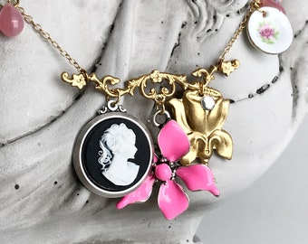 cameo charm necklace whimsical flower jewelry harajuku kitch kawaii pink enamel vintage inspired romantic betsey alice TEA PARTY