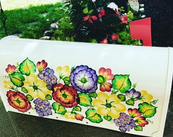Floral Painted Mailboxes, White Post Decorative Mailbox, Custom Mailboxes, Residential Mailboxes, Hand Painted Mailbox, Housewarming Gift
