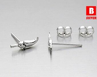 925 Sterling Silver Oxidized Earrings, Chili Earrings, Stud Earrings (Code : K10B)
