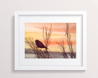 Sunset painting, Watercolor landscape, bird painting, Original watercolor, Bird lover gift, Nature art, Orange and Gold Painting