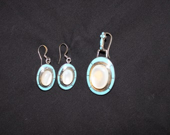 Turquoise & Mother of Pearl Earrings w/Pendant in Sterling Silver