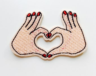 Love | Heart | Hands | Sign | Emo | Kawaii | Patch | Cute | Hipster | Trendy | Emo | DIY | Fashion | Retro