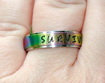 Personalized Hand Stamped Rainbow Stainless Steel Name Ring - Promise Ring Friendship Ring 6mm