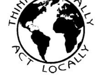 Think Globally Act Locally Rubber Stamp 469
