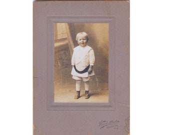 Antique Childs Cabinet Photo Early 1900s Photograph of Young Girl in Victorian or Edwardian Era Attire